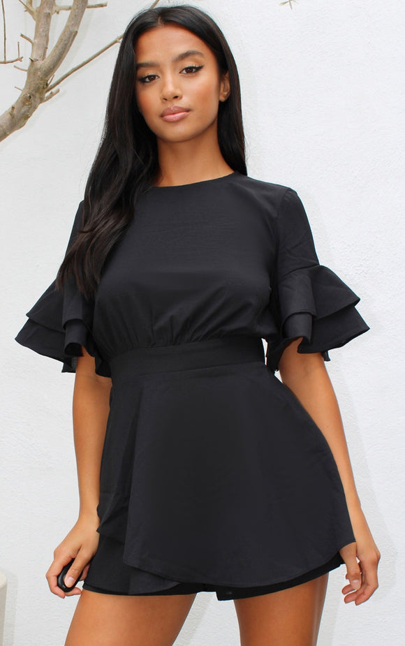 Petite Black Frill Sleeve Tie Back Playsuit - fashion.type.com
