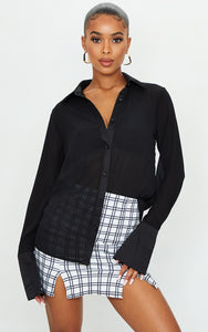 Black Woven Crinkle Textured Shirt - fashion.type.com