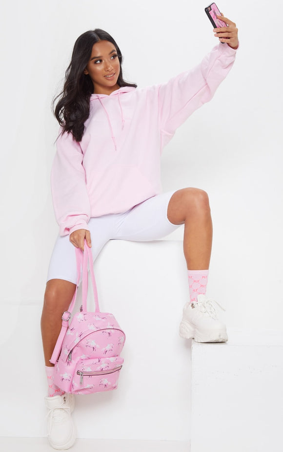 Plt Light Pink Embroidered Oversized Hoodie - fashion.type.com