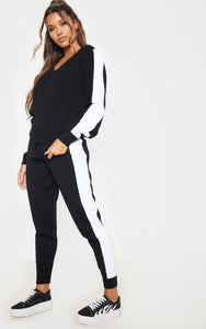 Black Contrast Stripe Knitted Lounge Set - fashion.type.com