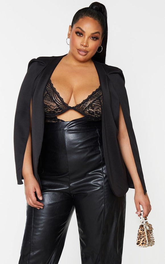 Plus Black Cape Blazer - fashion.type.com