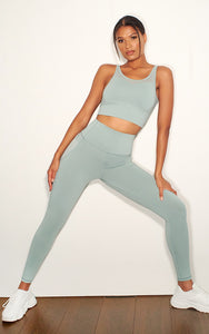 Sage Green Mesh Pocket Detail Luxe Gym Legging - fashion.type.com