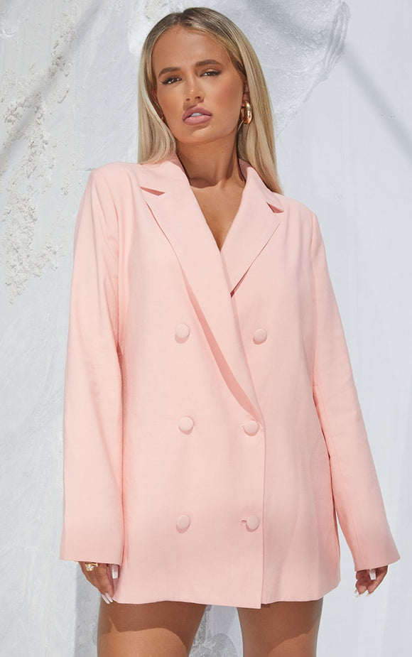 Pink Woven Triple Breasted Oversized Blazer - fashion.type.com