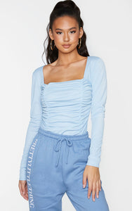 Dusty Blue Ruched Long Sleeve Bodysuit - fashion.type.com