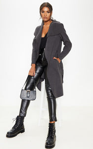 Charcoal Oversized Waterfall Belted Coat