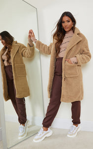 Camel Borg Longline Coat - fashion.type.com