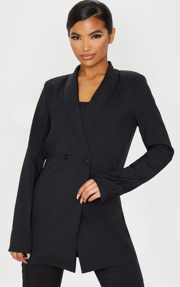 Black Shoulder Pad Double Button Blazer - fashion.type.com