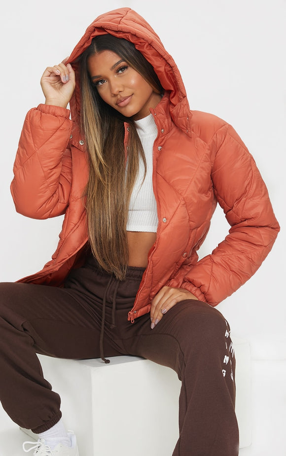 Rust Nylon Diamond Quilted Hooded Puffer Jacket - fashion.type.com