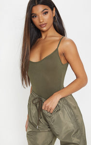 Steffany Khaki Scoop Back Bodysuit - Tops - fashion.type.com