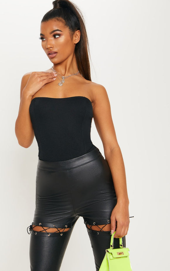 Black Crepe Bandeau Bodysuit - fashion.type.com