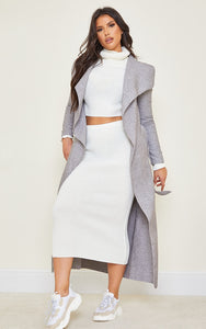 Tall Grey Maxi Length Oversized Waterfall Belt Coat - fashion.type.com