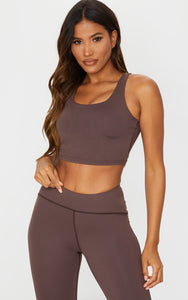 Chocolate Brushed Open Back Crop Top - fashion.type.com