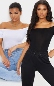 Black/White 2 Pack Bardot Short Sleeve Bodysuit - fashion.type.com