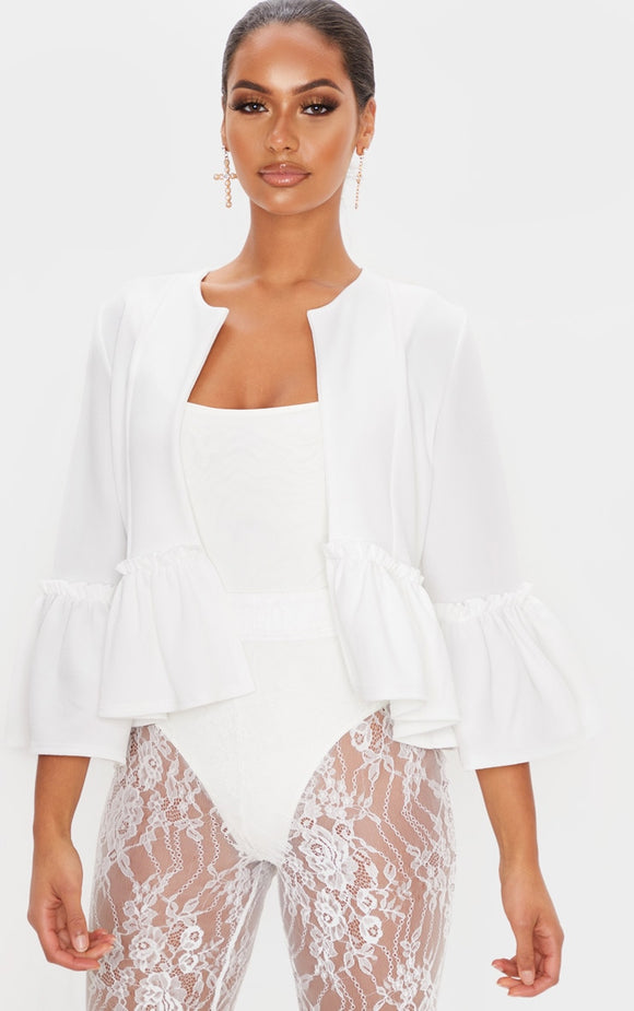 White Frill Sleeve Blazer. Coats & Jackets - fashion.type.com