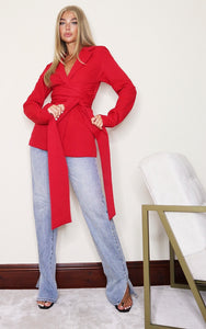 Red Woven Wrap Around Belted Fitted Blazer - fashion.type.com