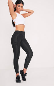 Black Panelled Gym Leggings. Activewear - fashion.type.com