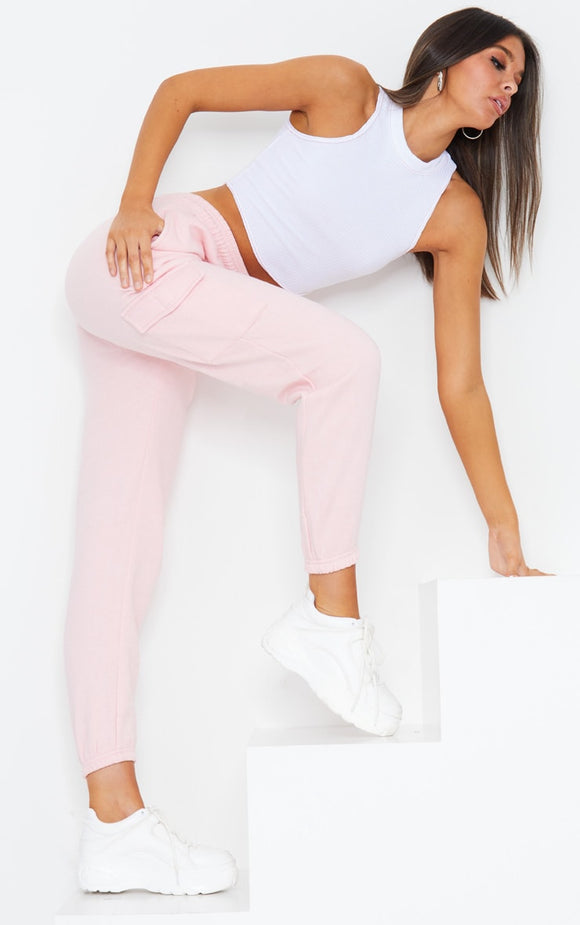 Baby Pink Pocket Detail Casual Joggers - fashion.type.com