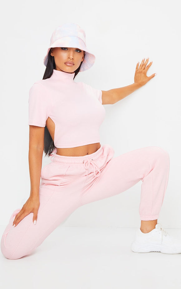 Baby Pink Seam Front Detail Joggers - fashion.type.com
