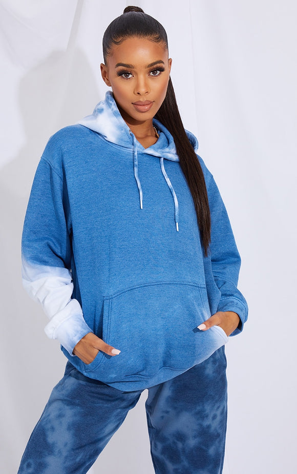 Blue Acid Wash Oversized Hoodie - fashion.type.com