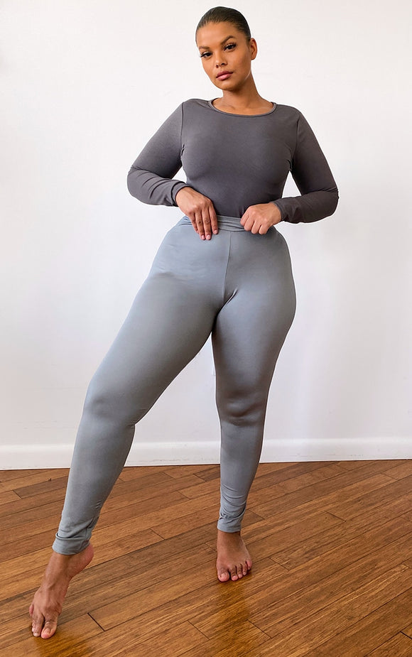 Plt Plus Charcoal Basic Logo Gym Leggings - fashion.type.com