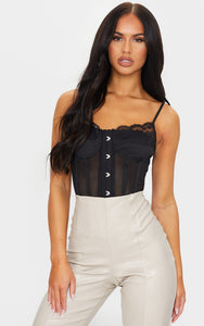 Black Mesh Fishnet Hook And Eye Structured Corset - fashion.type.com