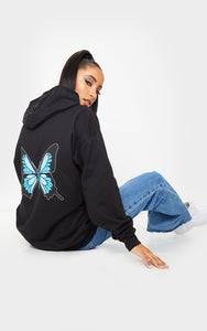 Black Butterlfly Back Printed Hoodie - fashion.type.com