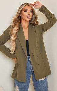 Khaki Triple Breasted Oversized Crape Blazer - fashion.type.com