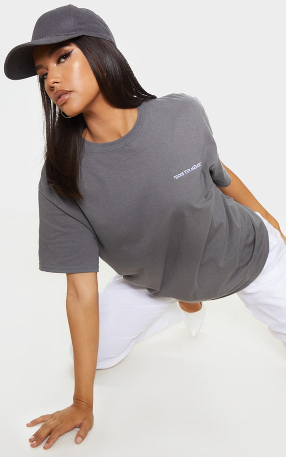 Charcoal Grey Be Yourself Embroidered T Shirt - fashion.type.com