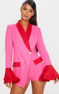 Pink Contrast Frill Sleeve Blazer Playsuit - fashion.type.com