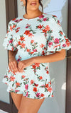 Mint Floral Print Frill Sleeve Tie Back Playsuit - fashion.type.com