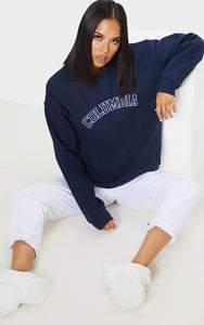 Navy Columbia Embroidered Oversized Sweater - fashion.type.com