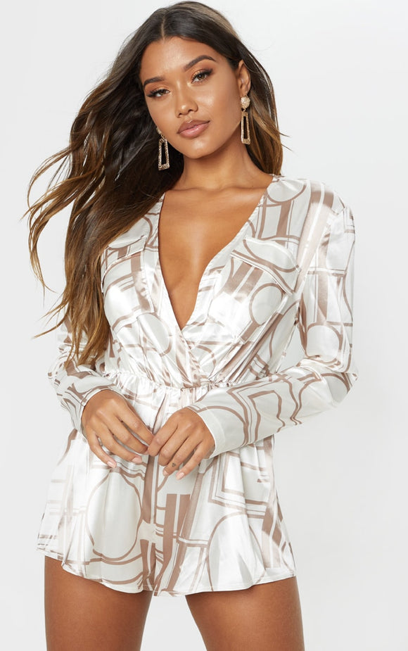 Champagne Chain Plunge Playsuit - fashion.type.com