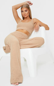 Taupe Chenille High Waist Trousers - fashion.type.com