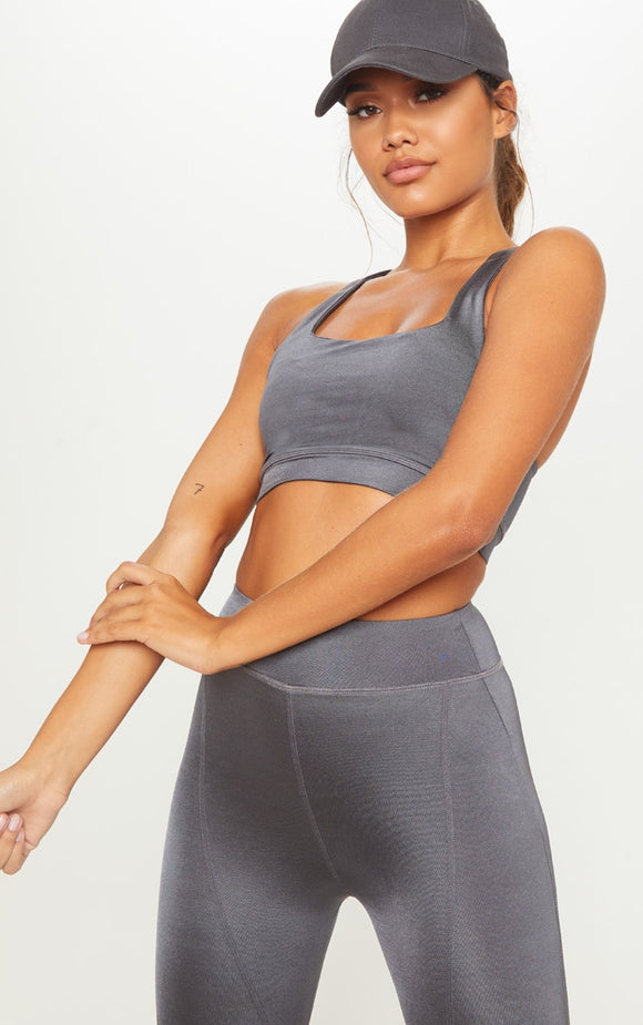 Charcoal Sports Crop Top - fashion.type.com