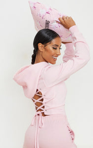 Baby Pink Lace Up Back Crop Hoodie - fashion.type.com