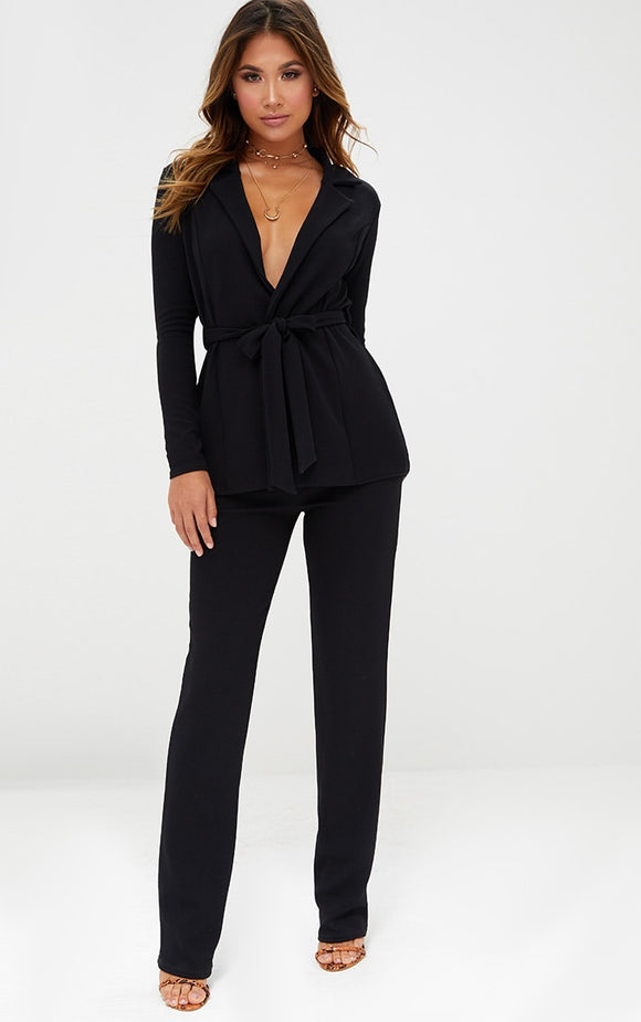 Black Straight Leg Suit Trousers - fashion.type.com