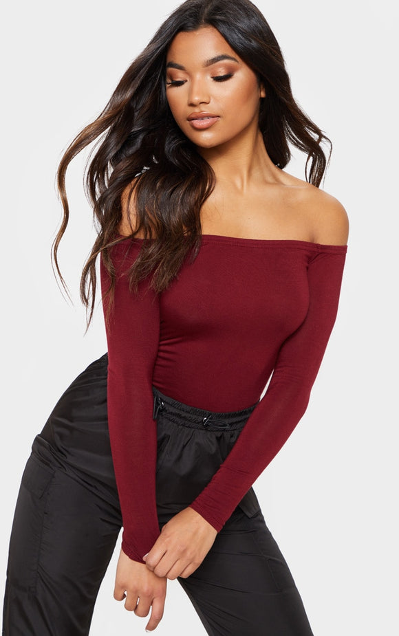 Burgundy Basic Bardot Bodysuit. Bodysuits - fashion.type.com