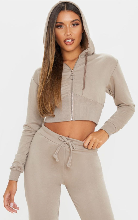 Brown Zip Up Bustier Hoodie - fashion.type.com