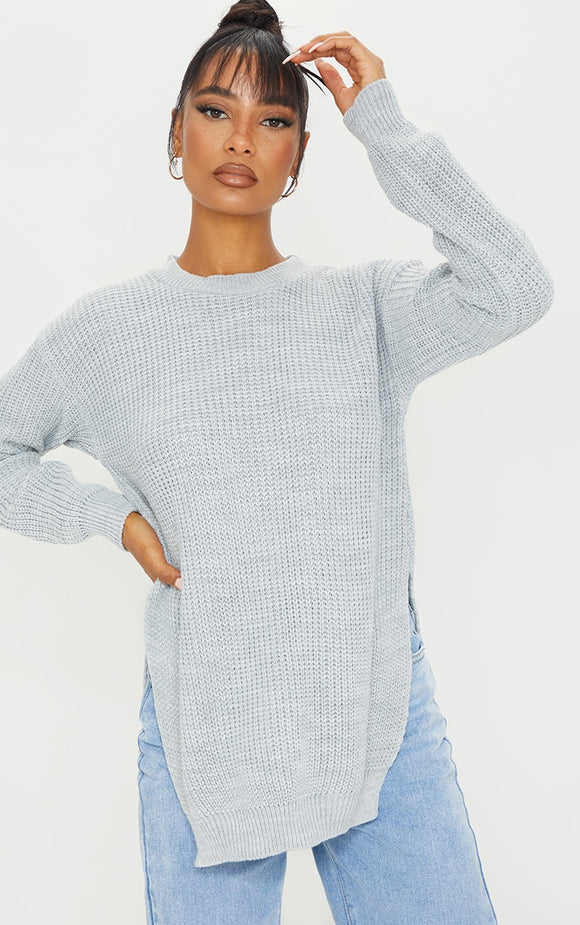 Rexx Grey Round Neck Side Split Jumper - fashion.type.com