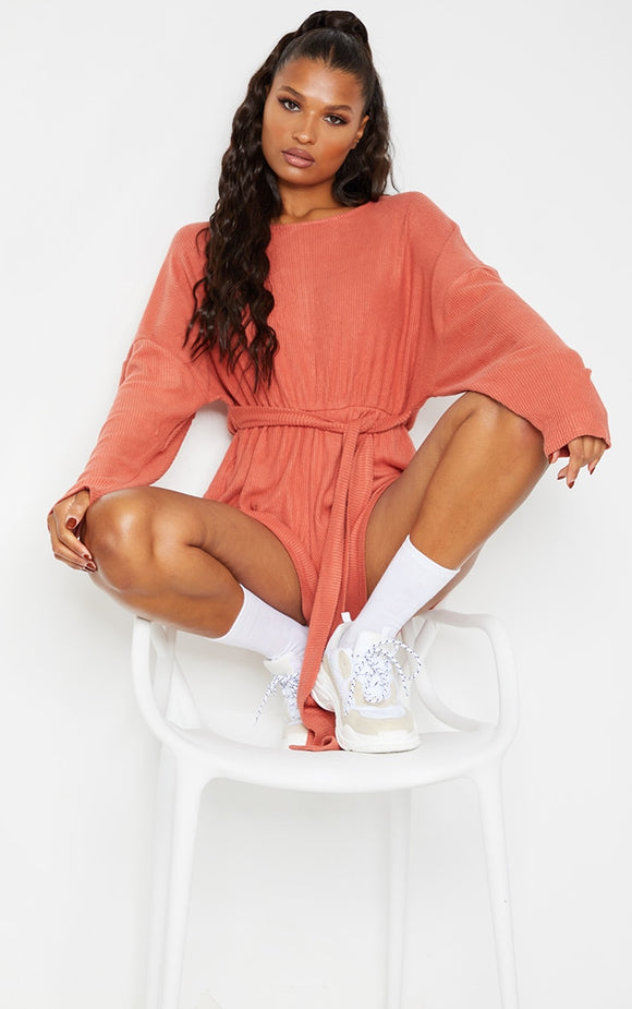 Terracotta Brushed Rib Oversized Tie Waist Playsuit - fashion.type.com