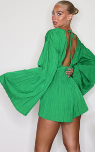 Green Satin Plunge Pleated Playsuit - fashion.type.com