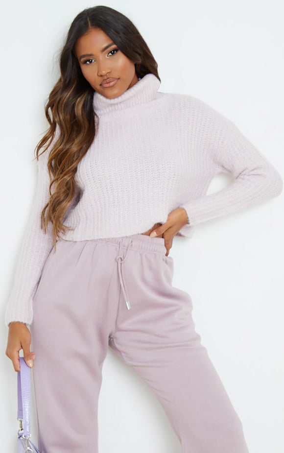 Pink Fluffy Roll Neck Slouchy Jumper - fashion.type.com