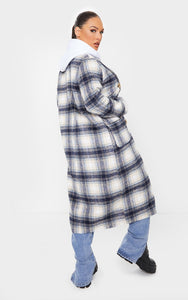 Blue Check Tortoise Mid Axis Coat - fashion.type.com