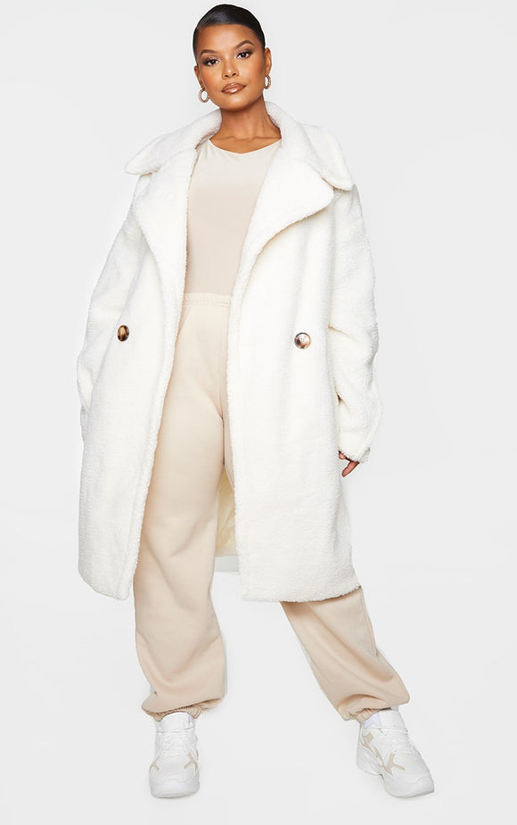 Plus Cream Borg Drop Arm Midi Coat - fashion.type.com