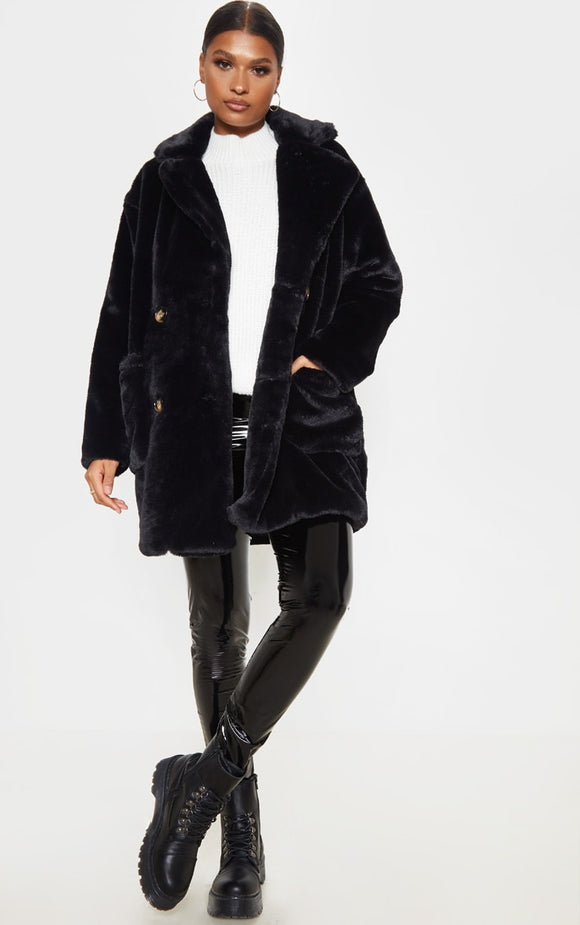 Black Faux Fur Double Breasted Button Detail Coat - fashion.type.com