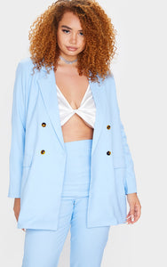 Plus Light Blue Double Breasted Blazer - fashion.type.com