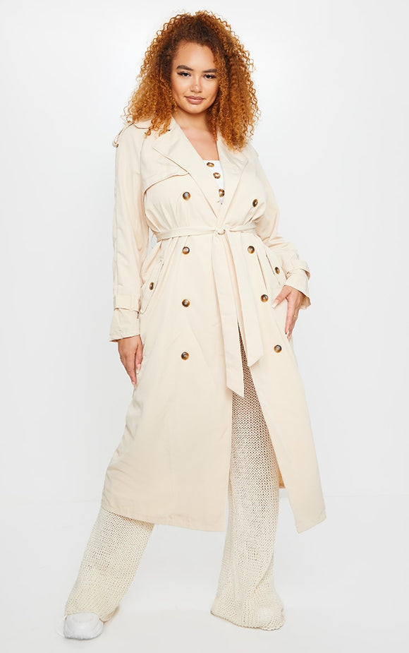 Plus Stone Oversized Button Down Trench Coat - fashion.type.com