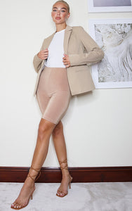 Camel Structured Cinched Waist Pocket Front Blazer - fashion.type.com
