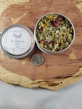 Load image into Gallery viewer, Chronic Pain (4 oz. tin) Herbal Blend:  Mullein, Skullcap, Lavender, Calendula, Marshmallow Root, Mugwort, Rose Bud