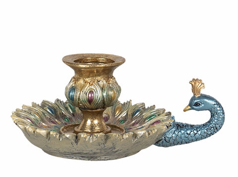 House of Desh peacock candle holder